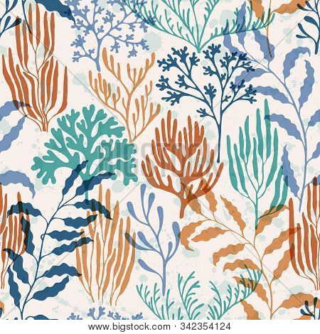 Coral Polyps Seamless Pattern. Kelp Laminaria Seaweed Algae Background. Sea Reef Nature Pattern. Und