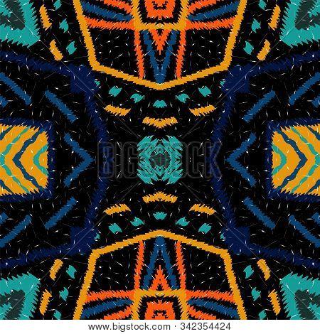 Dip Repeat Tie Dye. Red Tie Dye Vector Seamless Pattern. Indian Shibori Ogee Print. Cobalt Navajo El
