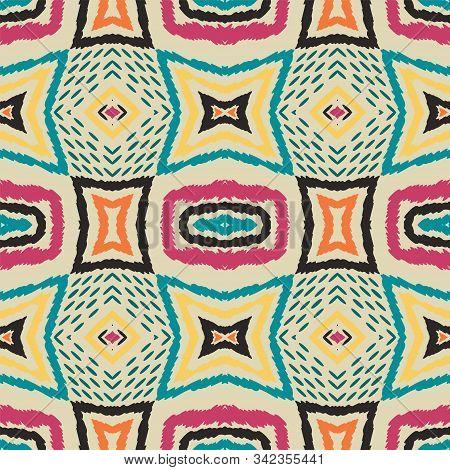 Cobalt Ikat Vector Seamless Pattern. Indian Trendy Tie Dye Ornament. Maroon Drawn Tribal Design. Fas