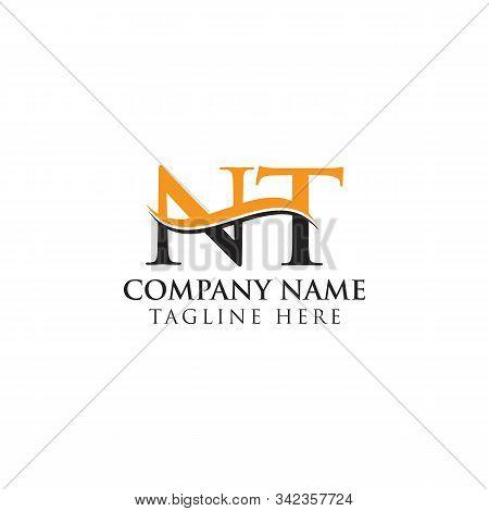 Swoosh Letter Nt Logo Design Vector Template. Nt Letter Logo Design.