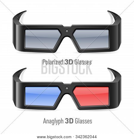 Illustration Of Anaglyph And Polarized 3d Cinema Glasses. Stereoscopic Goggles Isolated Clipart On W