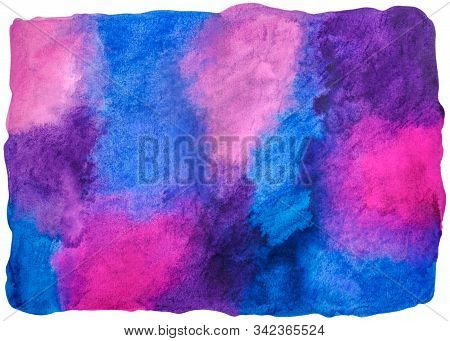 Abstract Bright Textural Hand Drawn Background Watercolor Blobs. Blue, Pink, Violet Aquarelle Textur