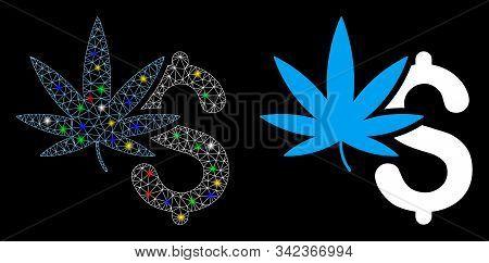 Glossy Mesh Marijuana Business Icon With Glitter Effect. Abstract Illuminated Model Of Marijuana Bus