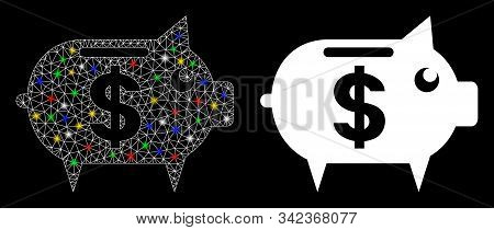 Glowing Mesh Piggy Bank Icon With Glare Effect. Abstract Illuminated Model Of Piggy Bank. Shiny Wire