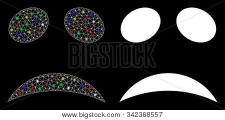 Glossy Mesh Sad Emote Smiley Icon With Glow Effect. Abstract Illuminated Model Of Sad Emote Smiley.