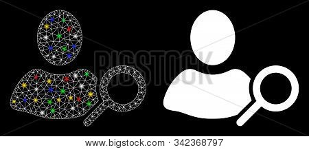 Glossy Mesh Find User Icon With Glow Effect. Abstract Illuminated Model Of Find User. Shiny Wire Car