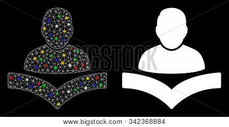 Glossy Mesh Reader Boy Icon With Glare Effect. Abstract Illuminated Model Of Reader Boy. Shiny Wire