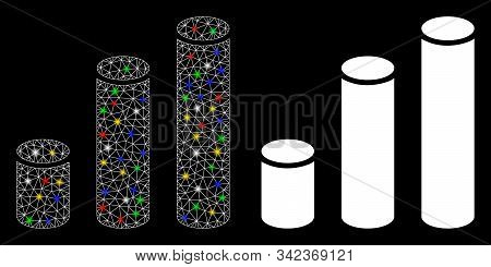 Glowing Mesh Bar Chart Cylinders Icon With Sparkle Effect. Abstract Illuminated Model Of Bar Chart C