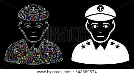 Bright Mesh Military Captain Icon With Lightspot Effect. Abstract Illuminated Model Of Military Capt