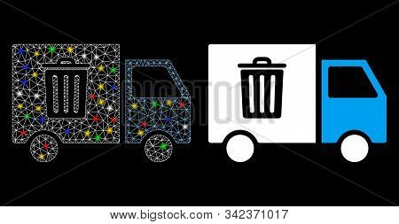 Glossy Mesh Rubbish Transport Van Icon With Glare Effect. Abstract Illuminated Model Of Rubbish Tran