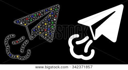 Glowing Mesh Paper Plane Start Icon With Glare Effect. Abstract Illuminated Model Of Paper Plane Sta