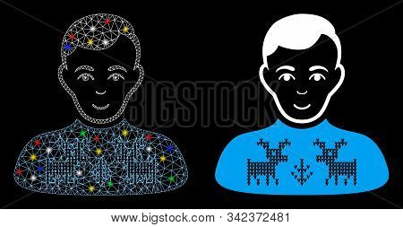 Glowing Mesh Deers Pullover Boy Icon With Glare Effect. Abstract Illuminated Model Of Deers Pullover