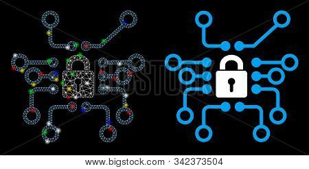 Glossy Mesh Cryptography Icon With Glow Effect. Abstract Illuminated Model Of Cryptography. Shiny Wi