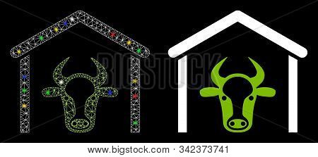 Bright Mesh Cow Garage Icon With Glow Effect. Abstract Illuminated Model Of Cow Garage. Shiny Wire F