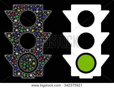 Glowing Mesh Green Traffic Lights Icon With Glow Effect. Abstract Illuminated Model Of Green Traffic