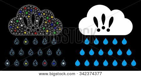 Glossy Mesh Thunderstorm Rain Cloud Icon With Glow Effect. Abstract Illuminated Model Of Thunderstor