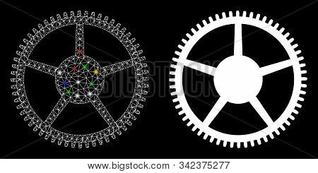 Glowing Mesh Tooth Main Wheel Icon With Glow Effect. Abstract Illuminated Model Of Tooth Main Wheel.