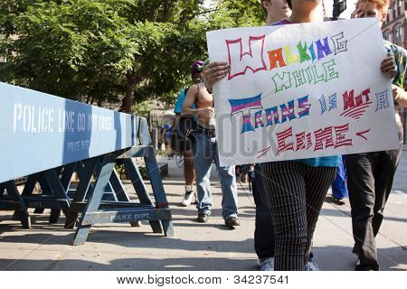 NEW YORK - JUNE 22: A supporter holds a sign that reads