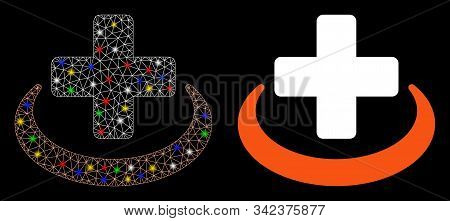Glowing Mesh Medical Community Icon With Glitter Effect. Abstract Illuminated Model Of Medical Commu