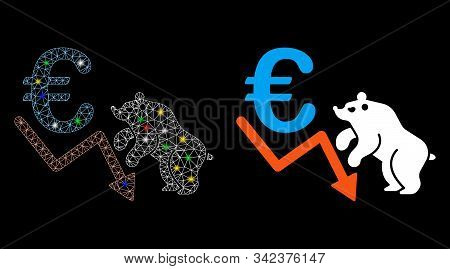 Glowing Mesh Euro Bear Stock Trend Icon With Sparkle Effect. Abstract Illuminated Model Of Euro Bear