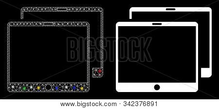 Glowing Mesh Mobile Tabs Icon With Lightspot Effect. Abstract Illuminated Model Of Mobile Tabs. Shin