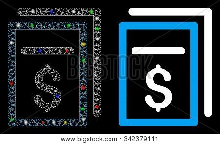 Bright Mesh Invoices Icon With Glow Effect. Abstract Illuminated Model Of Invoices. Shiny Wire Carca