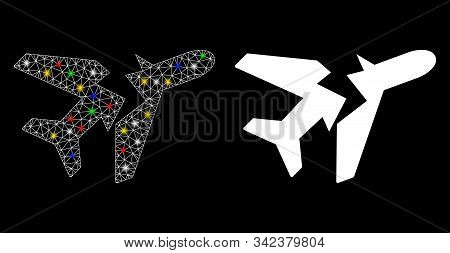 Glowing Mesh Break Airplane Icon With Sparkle Effect. Abstract Illuminated Model Of Break Airplane.