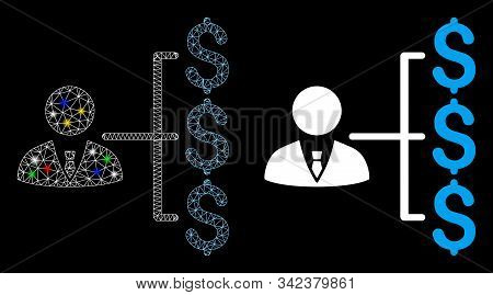 Glowing Mesh Banker Payments Icon With Lightspot Effect. Abstract Illuminated Model Of Banker Paymen