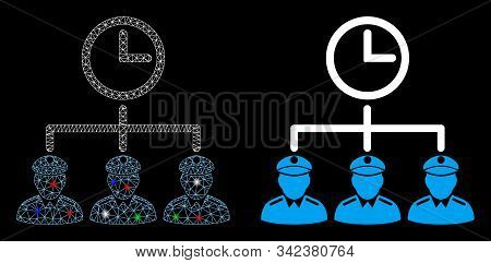 Glossy Mesh Time Army Icon With Sparkle Effect. Abstract Illuminated Model Of Time Army. Shiny Wire