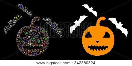 Bright Mesh Halloween Bats Icon With Glare Effect. Abstract Illuminated Model Of Halloween Bats. Shi