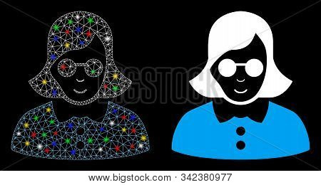 Glowing Mesh Blind Woman Icon With Glow Effect. Abstract Illuminated Model Of Blind Woman. Shiny Wir