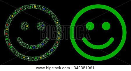 Glossy Mesh Glad Smiley Icon With Sparkle Effect. Abstract Illuminated Model Of Glad Smiley. Shiny W