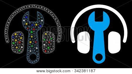 Glowing Mesh Headphones Tuning Wrench Icon With Glare Effect. Abstract Illuminated Model Of Headphon