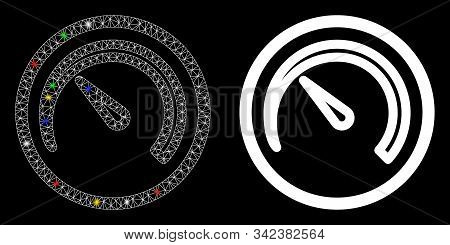 Glossy Mesh Speedometer Icon With Sparkle Effect. Abstract Illuminated Model Of Speedometer. Shiny W