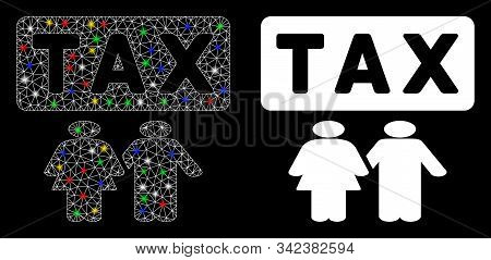 Flare Mesh Family Tax Pressure Icon With Glitter Effect. Abstract Illuminated Model Of Family Tax Pr