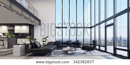 Luxury Modern Penthouse Interior With Panoramic Windows, 3d Illustration