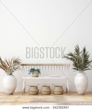 Mock Up Poster Frame In Modern Living Room Interior. Interior Scandinavian Style. 3d Illustration