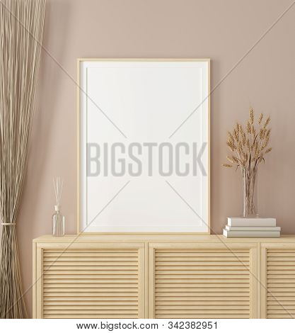 Mock Up Frame In Home Interior Background, Warm Beige Room With Natural Wooden Furniture, Scandinavi