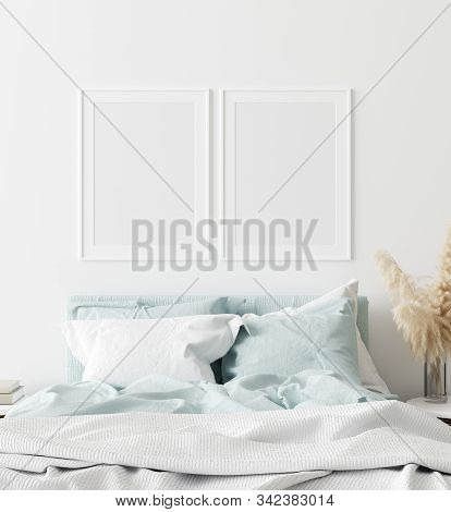 Mock-up Poster Frame In Bedroom, Scandinavian Style, 3d Illustration