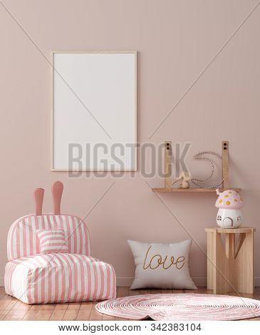 Mock Up Poster Frame In Children Room Interior Background, 3d Illustration