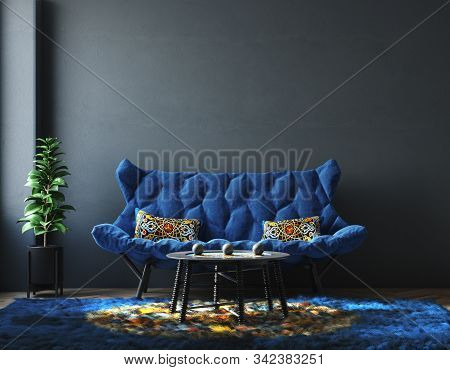 Home Interior With Furniture In Trendy Blue Color, Classic Blue Color Of The Year 2020, 3d Illustrat