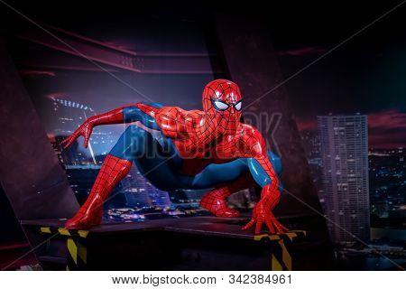 Bangkok, Thailand - November 29 2019: A Wax Statue Of Hollywood Superhero Spiderman At Wax Museum Of