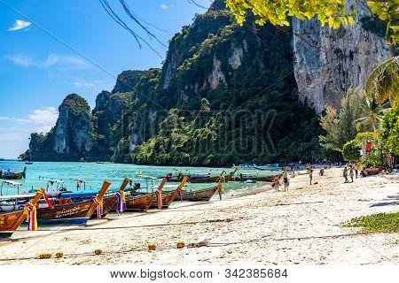 Phi Phi, Thailand - November 26 2019: People Sunbathing At Loh Dalum Beach In Phi Phi Islands.
