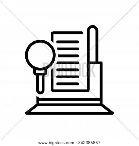 Black Line Icon For Audit  Finance  Auditor Document