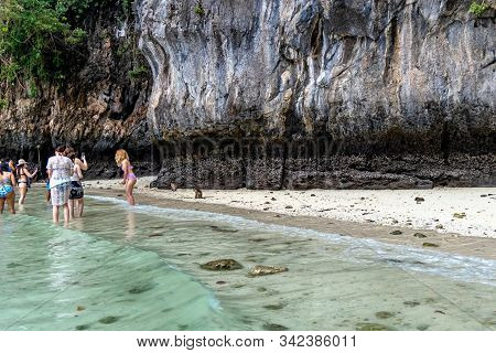 Phi Phi Island, Thailand - November 24 2019: Tourists Enjoying Their Visit To The Monkey Beach On Ph