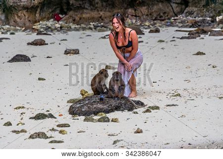 Phi Phi Island, Thailand - November 24 2019:  An Unidentified Woman Posing For A Photo With A Monkey