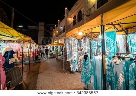 Krabi Town, Thailand - November 23 2019: Local Handmade Cotton Clothes Put On Display For Sale At Kr