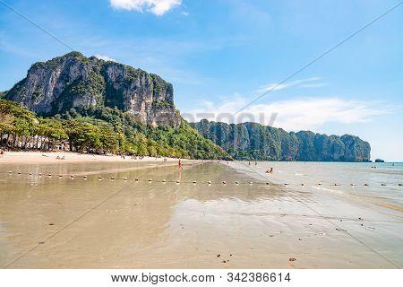 Krabi Town, Thailand - November 23 2019: Beautiful Ao Nang Beach In Krabi Town, Thailand.