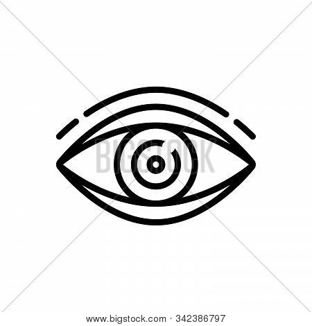 Black Line Icon For Vision See View  Look Sight Watch Eyesight Dristi Peep
