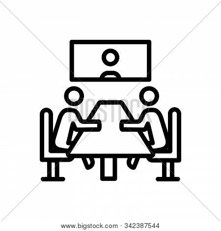 Black Line Icon For Meeting Convention Conference Gathering Assembly